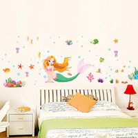Wholesale Cartoon Hot Girl Wall - Hot New Sea World The Little Mermaid Removable Wall Sticker PVC Mural Decal Girls Room Decor