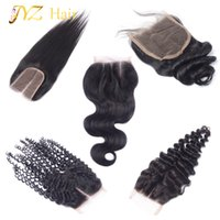 Wholesale Kinky Hair Closures - JYZ Top Closure Brazilian Peruvian Malaysian Human Hair Closure Body Wave Straight Deep Wave Loose Wave Kinky Curly 4x4 Lace Closure