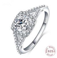Wholesale Designs Diamond Rings Ladies - 2017 New Design Sterling Silver Rings Women's Wedding Engagement Diamond Rings Ladies Silver Jewelry 1Piece Drop Shipping