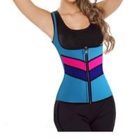 ingrosso corsetto di colore corporeo-Donna Body senza maniche in neoprene Bustini Sport Underbust Rosa Blu Nero Colore Zipper Stripe Vita Shaper Corsetti Top