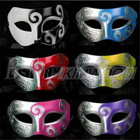 Wholesale Masquerade Mask Kids - Men's Masquerade Mask Fancy Dress Masks Masquerade Masks Plastic Half Face Mask Optional Multi-color DHL free shipping