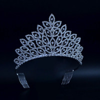 Wholesale Pageant Queen Jewelry - Leaves Medium Beauty Pageant Queen Crown Rinestone Bridal Wedding Tiaras Crystal Hair Jewelry Princess Pretty Girls Party Show Prom 02401