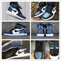 Gros Tops En Toile De Gros Pas Cher-Vente en gros New Arrival 2017 Hot Sale Air Retro 1 All Star Basketball Chaussures bon marché Hi AS OG Hommes High Top Chameleon Fashion Blac