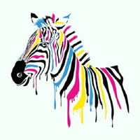 Wholesale Life Size Zebra - Colorful Striped Zebra,Hand-painted Modern Lovely Cartoon Animals Art Oil Painting,Home Wall Decor On High Quality Canvas Multi sizes homest