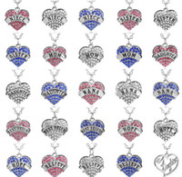 Charms Flash Cinese Diamante Esplosione Heart Love Ciondolo Collana Figlia Mamma Nana speranza Credi Insegnare Infermiera Collana Swarovski Elements
