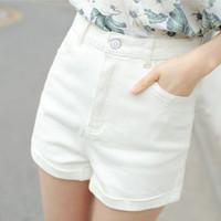 Wholesale Denim Roll High - Wholesale- Women denim shorts 2017 spring and summer teenager girls loose roll-up hem white high waist plus size female shorts black