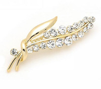 Wholesale Asian Wholesale Led - Noble Luxury 18K Gold Plated Crystal mde with Swarovski Elements Leaf Brooch Pins for Women Health Jewelry Nickel Lead Free Factory Price