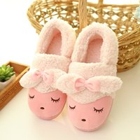 Wholesale Fluffy Animal Slippers - Wholesale-Warm Plush Slippers Soft Soles House Shoes Home Indoor Animal for Women Adult Fluffy Winter Slippers Cotton-Padded Slippers