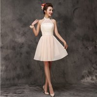 Wholesale Chiffon Summer Bridal Dress - champangne short formal summer halter dress 2017 chiffon bridal party robes dress homecoming dresses size new arrival H3532