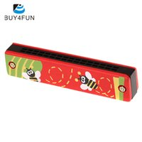 Wholesale harmonica 16 - Wholesale-Top Sale Harmonica 16 Holes Kids Musical Instrument Educational Toy Wooden Cover Colorful Free Reed Wind Instrument