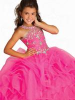 sıcak kız topu toptan satış-Sıcak satış Kızlar Pageant Dans Parti Prenses Balo Resmi Çiçek Kız Elbise Kırmızı etek boyutu