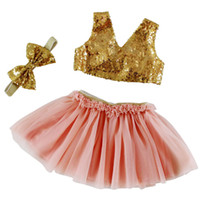 Wholesale Skirts Tanks Bows - Baby sets fashion lettle girls sequins V-neck tank top+tulle tutu skirt+bows hair band 3pc clothing sets girls princess party outfits T4041