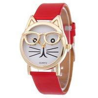 Wholesale Glass Table Watch - Free shipping Belt cat students watch cartoon wear glasses Lady leather face was small and pure and fresh light quartz table