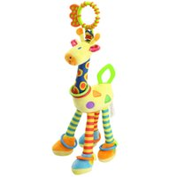Wholesale Deer Giraffe - Quality deer plush toys bed baby mobile hanging baby rattle toy giraffe with bell ring infant teether Toys Christmas gift