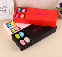 Wholesale Macaron Bakery Packaging - Macaron Box Holds 12 Cavity 20*11*5cm Food Packaging Gifts Paper Party Boxes For Bakery Cupcake Snack Candy Biscuit Muffin Box
