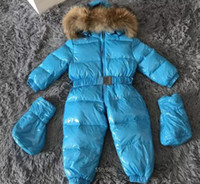Wholesale Brown Overalls Boys - winter kids suit New brand Children's winter snowsuit white duck gilrs thick warm clothing for boys overalls real reccoon fur free shipping