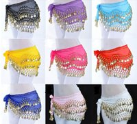 Wholesale Tassel Belly Dance Scarf Wholesale - 12 Colors 3 Rows 128 Coins Belly Egypt Dance Hip Skirt Scarf Wrap Belt Costume