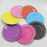 Atacado-10pcs Striped Polka Dot Paper Placas para churrasco Valentine Aniversário Casamento Vivero Party Tableware Party Supplies