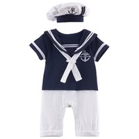Wholesale Sailor Costume Baby - Baby Boys Sailor Romper Funny Costume Navy Clothing Sets with Hat 100% Cotton