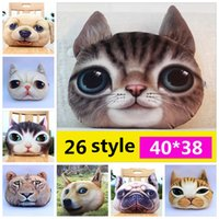 Wholesale Car Cover Fabric Wholesale - 3D Animal Pillow Case Cats Dog Head Pillow Cover Meow Star Doge Cushion Cases Cat Dog Face Pillowcases Home Sofa Car Decor YYA243