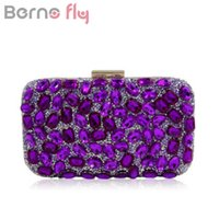 Berno Fly Brand Women Diamonds Evening Bag Moda Gold Clutches Bolsas Blue Party Silver Wedding Party Purple Clutch Purses