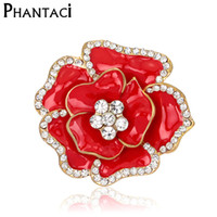 Wholesale Wholesale Women Clothing For Cheap - Wholesale- Large Red Rhinestone Brooches Wedding Bouquet Flowers Gold Brooch Pins For Women Cheap Fashion Jewelry Clothes Accessories