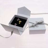 Delicate Bow Jewelry Display And Packaging Ring Boxes Cardboard Fancy Earrings Storage Organizer Casket Gift Box ZA4030