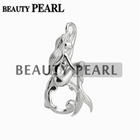 Wholesale Sterling Pendant Mounting - 5 Pieces Mermaid Cage Locket Love Wish Pearl Gift 925 Sterling Silver Pearl Cage Pendant Mounting