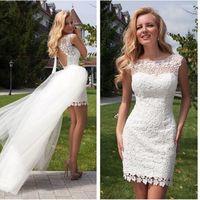 Wholesale Mini Wedding Dresses Detachable - Sexy Detachable Lace Short White Ivory sheath scoop sleeveless beach Wedding Dresses Backless Bridal Gown free shiping