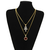 Wholesale Large Rhinestone Cross Necklace - Egyptian large Ankh Key pendant necklaces Sets Round Ruby Sapphire with Rhinestones Cross Charms cuban link Chains For mens Hip Hop Jewelry