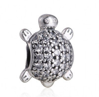 Wholesale 925 Silver Turtle - 2017 New Sea Turtle Charms Fits Pandora Bracelets Original 925 Sterling Silver Clear CZ Turtle Animal Charm DIY Fine Jewelry Making HB323