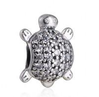 ingrosso tartarughe di animali-New Sea Turtle Charms Adatto Pandora Bracciali Originale 925 Sterling Silver Clear Crystal Pavimenta Tartaruga Animale di Fascino DIY Monili Che Fanno HB323