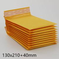 papierblasen-umschlag großhandel-130 * 210 mm + 40 mm gelbe Kraftpapier-Postumschlagtasche PE-luftblasengefüllte Umschläge Verpackungsbeutel Versandzubehör