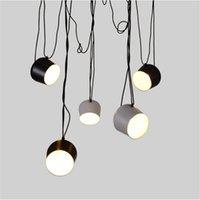 Wholesale Aim Light - LED Lights Aluminium Aim White Black E27 Pendant Lamp Lights LED Bulb Grow Lights Bar Living Room Droplight Lighting Chandelier