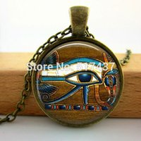 New Fashion Glass Dome Necklace Vintage Eye of Horus Necklace Egytian Black Jewelry Glass Picture Pendant