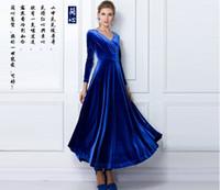 Wholesale Long Sleeved Velvet Gowns - Free Shipping2016 autumn and winter women's large size, long-sleeved V-neck long section of the large swing velvet dress dress