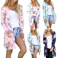 casacos cardigans florais venda por atacado-Casacos florais de Inverno Cardigans Casual Blusa Outwear Camisola Solta Mulheres Do Vintage Casacos de Malha Tops Pullover Jumper OOA3218