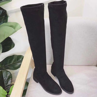Wholesale stretch leopard boots - high quality~ u762 black matte stretch flat thigh high boots sexy fashion must have