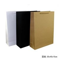 Wholesale Black Paper Shopping Bags - 18pcs lot30*40*10cm gift black card paper bag for shopping,wedding gift bags gold kraft-paper-bag,customized logo bag