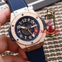 Wholesale Hollow Watch Transparent - Best Selling Luxury men watch Hollow Big Unico GMT Engraving Automatic 45mm Transparent case Rubber Strap Men's Watch Mechanical watches