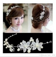 Wholesale Silver Chain Headpieces - Free Shipping bridal jewelry wedding headpieces crowns with crystal pearl wedding headwear wedding accessories jewelry For Women