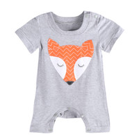 Wholesale Halloween Costume Toddler - Children Costume Toddler baby boys girls rompers boys girls bodysuit newborn newest fashiion fox animal print grey color hot selling 2016