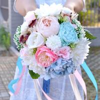 ingrosso bouquet di fantasia-Matrimoni da sposa per matrimoni con multi colori nastri fantasia bouquet da sposa foresta fatto a mano artificiali bouquet da sposa # BW-B012