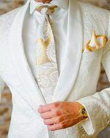 Wholesale Mens Wool Brown Suit - 2017 White Paisley tuxedos Wool Herringbone wedding suits for men British style custom made Mens suit slim fit Blazer(Suit+Pant)0115