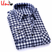 Wholesale Check Shirt New Style - Wholesale- 2017 New Spring Men Plaid Shirts Long Sleeve Casual Mens Check Shirt England Style Cotton Men's Brand Clothing S-4XL YN705
