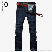 Wholesale men office trousers - Wholesale- 2016 Brand Men Jeans Straight Slightly Elastic Classic Denim Jeans Trousers Blue Casual Long Business Office Slim Big Size 29-42