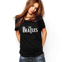 Wholesale Beatles T Shirts Women - Wholesale- Fashion 2016 Summer Women T-shirt Short Sleeve O-Neck T Shirt Female Black Punk THE BEATLES Letter Print Tee Shirt Femme Tops