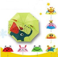 Wholesale small wholesale umbrellas - New Arrival 18 Inch Animal Kids Umbrellas Cute Princess Girls Boys Portable Small Umbrellas High Quality Parasol For Age 2-6
