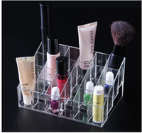 Wholesale Acrylic Square Stand - 24 Lipstick Holder Display Stand Clear Acrylic Cosmetic Organizer Makeup Case Sundry Storage makeup organizer organizador Brand W1124