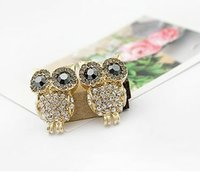 Wholesale Wholesale Tin Owls - New in 2014 fashion coruja owls jewelry pendientes brincos boucles d'oreilles strass bijoux bijouterie stud earrings for women
